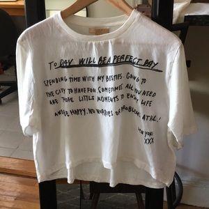Zara Linen White T-Shirt